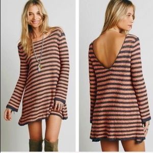 Free People Dresses - Free People XS Gray Coral Sweater Dress Festival